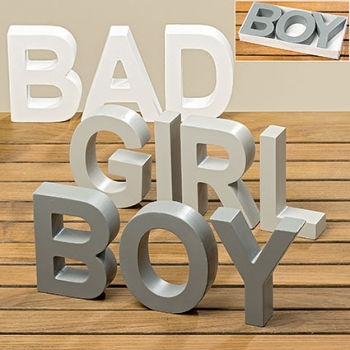 Holzschild Girl/Boy/Bad