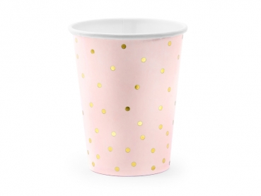 Pappbecher rosa mit gold dots 6er Set