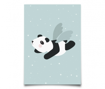 Postkarte Flying Panda