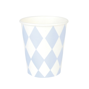 Pappbecher m. Diamanten hellblau 8er Set