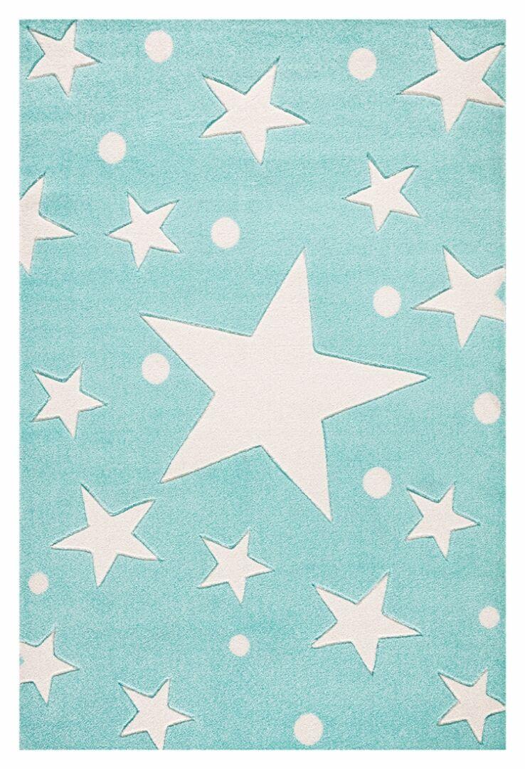 Teppich sternen punkten mint weiss - Sternen teppich kinderzimmer ...