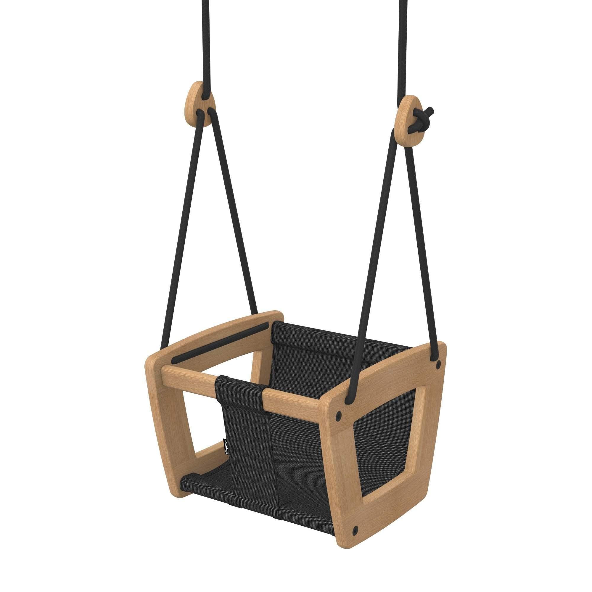 baby holzschaukel eiche schwarz. Black Bedroom Furniture Sets. Home Design Ideas