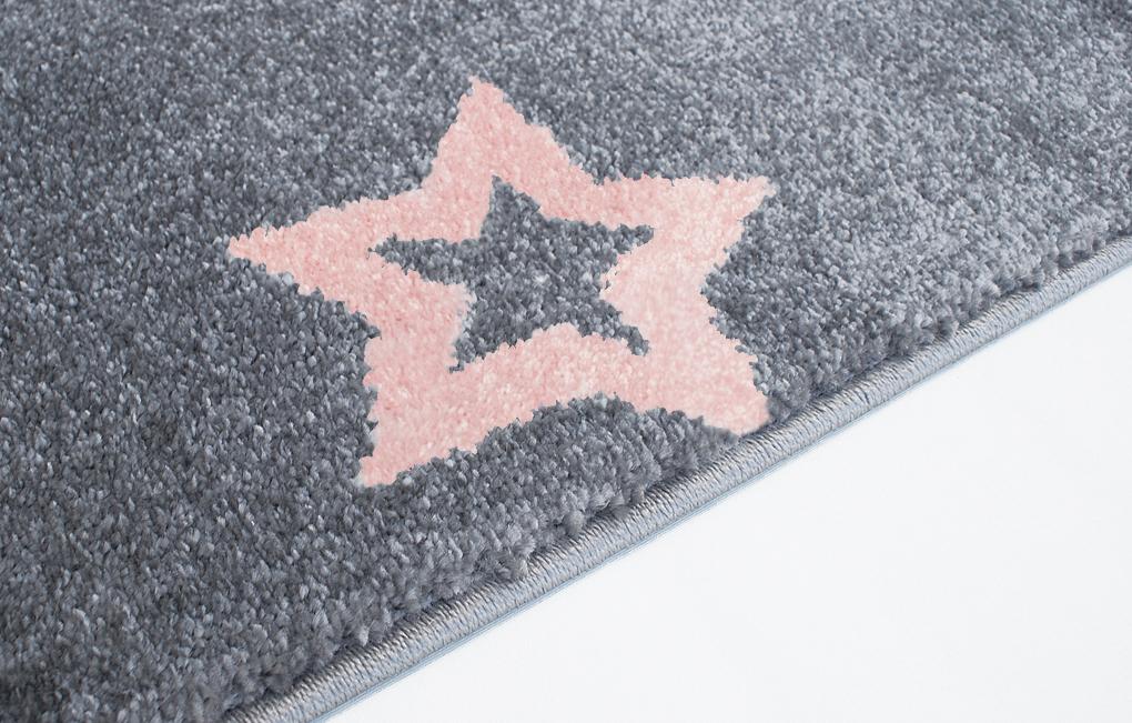 teppich mit sternen grau rosa
