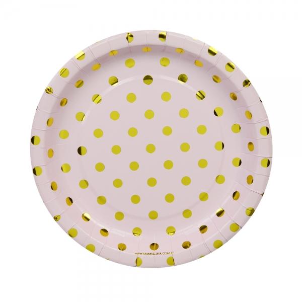 Pappteller dots rosa gold 12er set for Pappteller gold